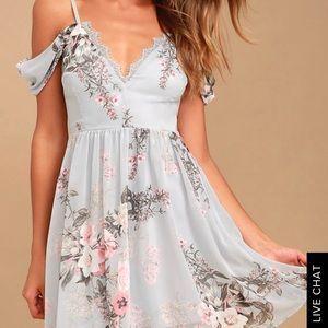 Blue Lulu's off the Shoulder floral dress size sm